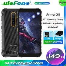 Ulefone Armor X8 IP68 IP69K Robuuste Telefoon 4Gb Ram 64Gb Rom MT6762V 5080Mah Grote Batterij Android 10 Mobiele Telefoon