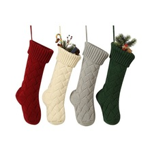 Yooap New Hot Sale Christmas Knitted Socks Gift Bags Home Decor Supplies Wool Sets (Large)