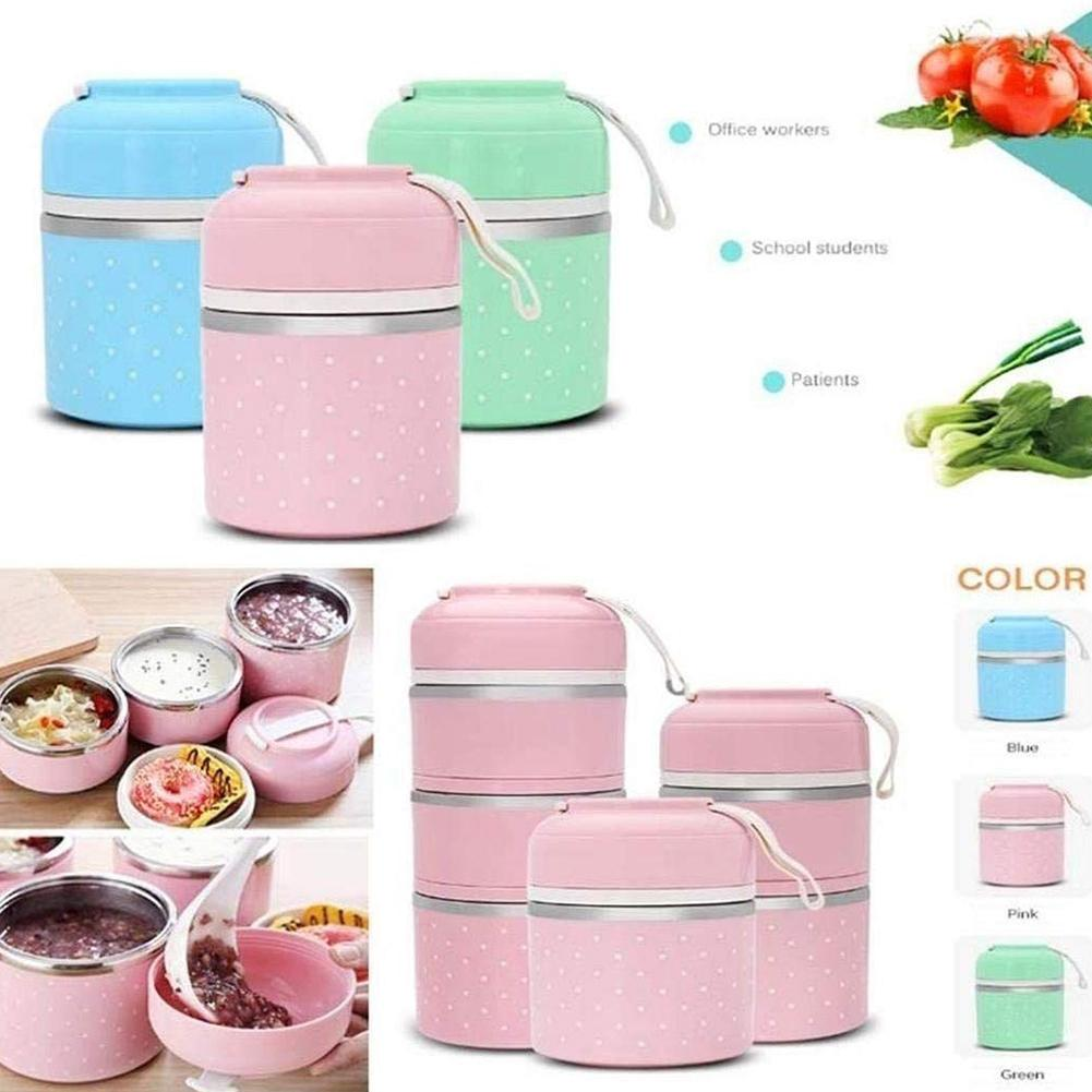 1/2/3 Tiers Portable Thermal <font><b>Lunch</b></font> <font><b>Box</b></font> Bag Portable Stainless Steel <font><b>Lunch</b></font> <font><b>Box</b></font> Compartment Adult Cute <font><b>Lunch</b></font> <font><b>Box</b></font> <font><b>Food</b></font> <font><b>Container</b></font> image