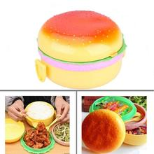 цена на 1pc Cute Hamburger Double Tier Lunch Box Burger Box Bento Lunchbox Children Kid's School Food Container Tableware Home Supplies