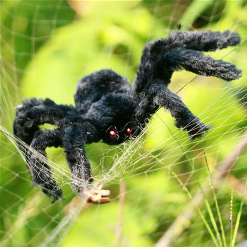 1Pc Super Big Plush Spider Made Of Wire And Plush Black And Multicolour Style For Party Or Halloween Decorations Toy 75cm,90cm