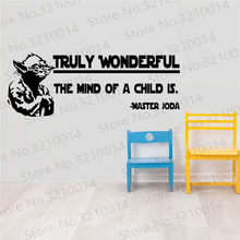Best Design Amazing Star Wars Wall Decals Wonderful The Mind of a Child is Decal-Master Yoda-Star Wars Kids Wall Stickers PW818(China)