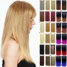 Длинные прямые волосы MANWEI на клипсах, 24 дюйма, натуральные синтетические волосы для наращивания, черный, коричневый, красный, розовый, фиолетовый цвет