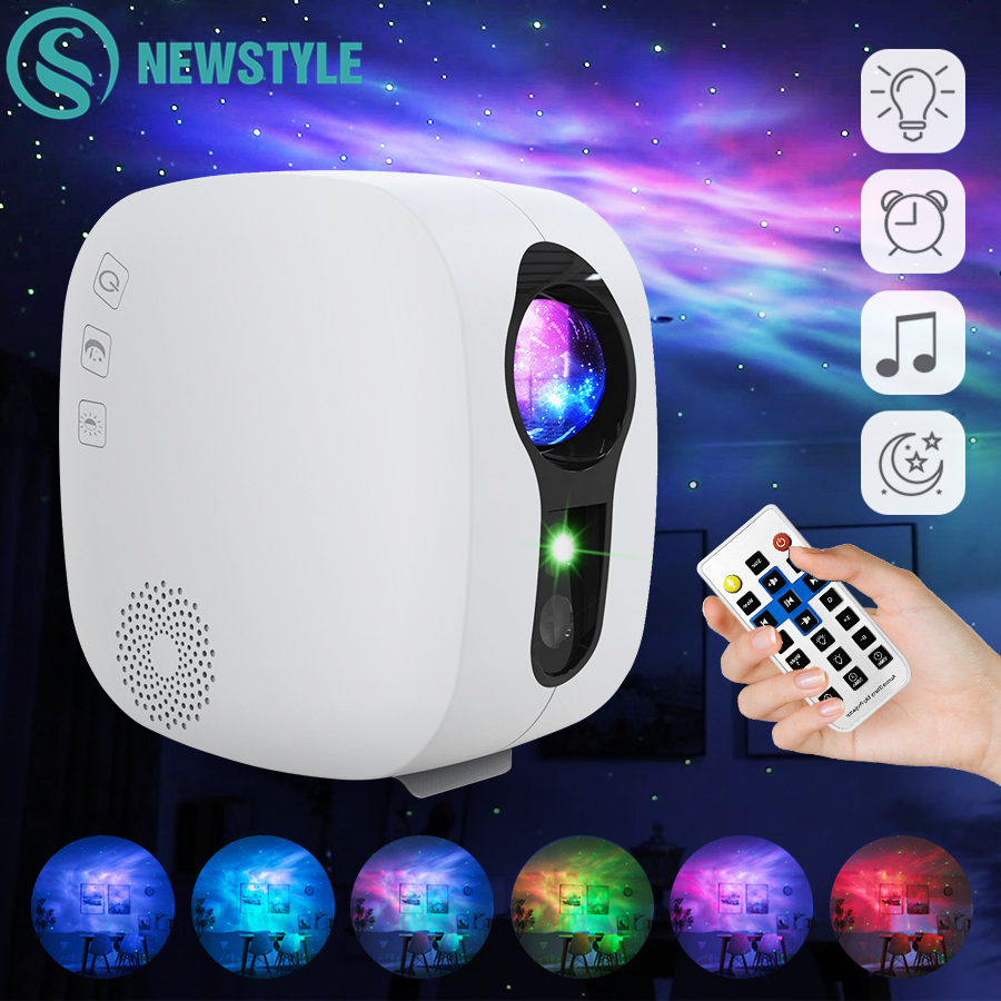 Ciel étoilé projecteur Bluetooth musique haut-parleur LED veilleuse projecteur galaxie nébuleuse océan étoile projecteur lune nuit lampe