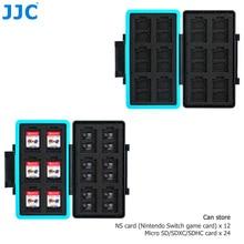 JJC 36 Slots Waterproof Memory Card Case Anti-Shock Storage Box for 24 Micro SD SDXC SDHC + 12 NS Card Wallet Organizer Keeper