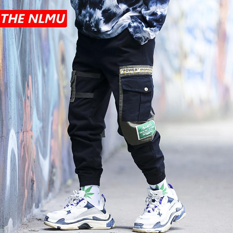 Hip Hip Black Patchwork Cargo Pants Men Tactical Joggers Pant 2019 Autumn Casual Streetwear Trousers Elastic Waist Green WG551