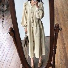 SHENGPALAE Новое весеннее платье длиной до лодыжки с v-образным вырезом и карманами, однобортное женское Свободное платье с рукавами-фонариками, корейская мода FS431