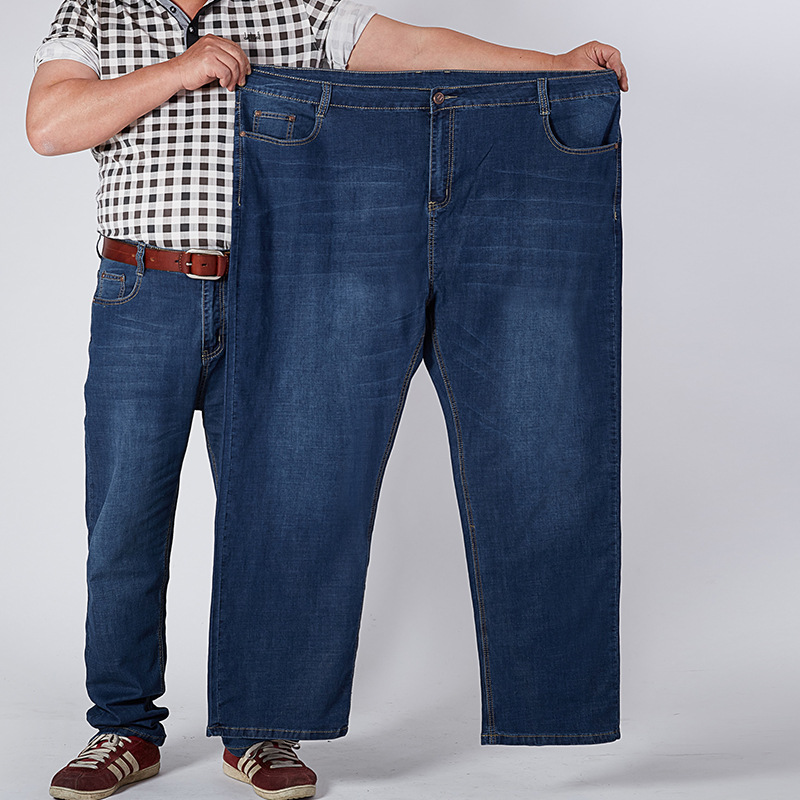 Main M8632 Dad High-waisted Plus-sized Jeans Men's Elasticity Loose-Fit Fei Lao Chao Extra Large Men's Trousers 30-52