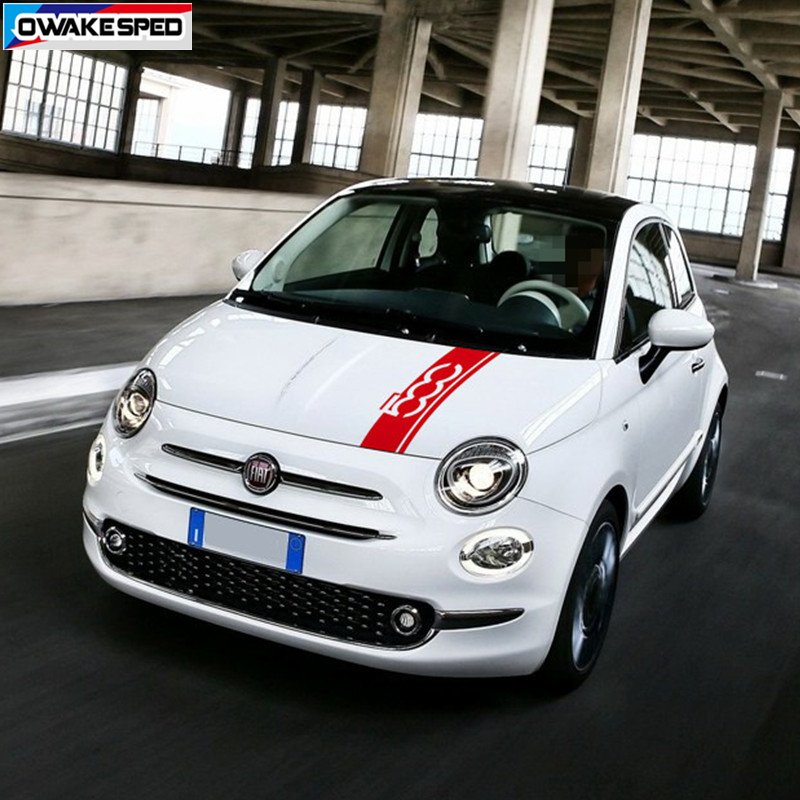 Car Hood Bonnet Sport Sticker For-Fiat 500 Auto Engine Cover Stripes Auto Body Decor Vinyl Decals Exterior Accessories