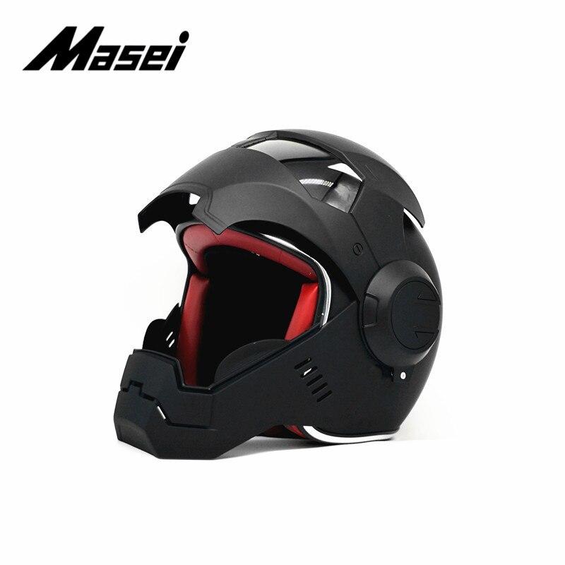 Masei IRONMAN casque moto rcycle casque demi casque visage ouvert casque moto cross accessoires voiture autocollant casco moto noir - 3