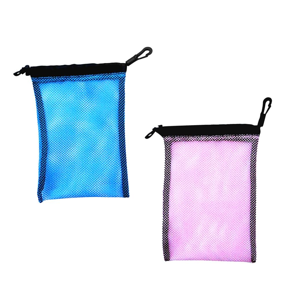 Blue+Pink Mesh Equipment Bag Drawstring For Swimming Beach Diving Travel Gym