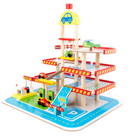 FBIL Toy Car Children's Toy Car Toy Model Car Wooden Puzzle Building Slot Track Rail Transportation Parking Garage