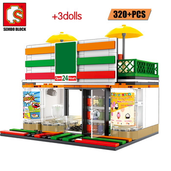 SEMBO City Street View Architecture House Food Shop Building Blocks Friend Retail Store Cafe Restaurant KTV Bricks Toys for Kids