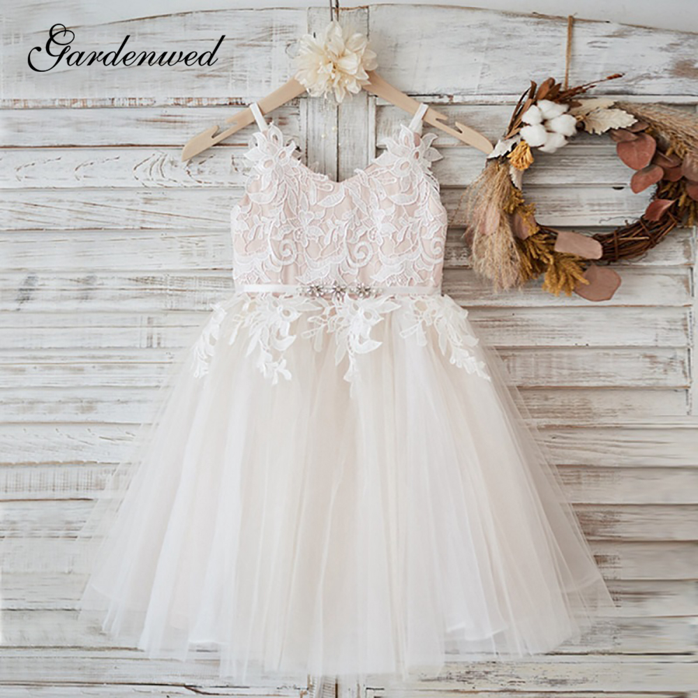 White Lace Flower Girl Dress V Neck Sash Tulle Pageant First Communion Dresses Prom Ball Gown Princess Baby Girl Party Dress