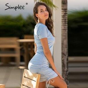 Image 5 - Simplee vestido estilo lápis de manga curta, feminino, casual, gola redonda, lace up, minivestido, para primavera, verão, plissado nova varal