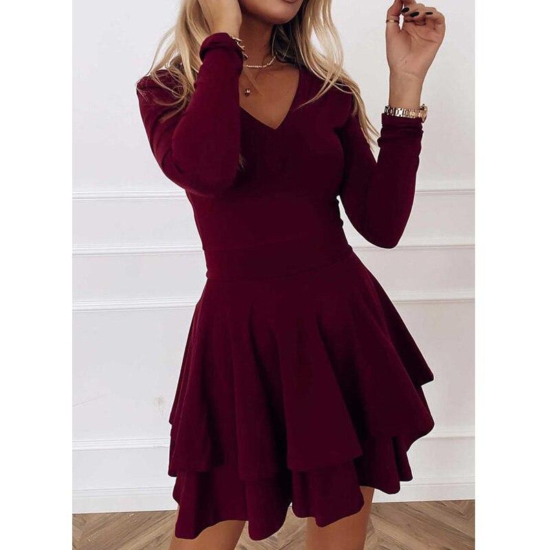 Neue Sommer Frau Kleid Solide Langen Ärmeln V-ausschnitt A-Line Über Knie Kleid Partei Elegante Rüschen Mode Kleider für Frauen 2021