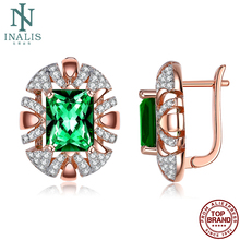 INALIS Oval Stud Earrings For Women Shining Clear Cubic Zirconia Romantic Rose Gold Copper Earring Anniversary Fashion Jewelry