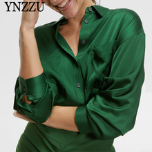 Green Women Long sleeve Satin blouse Spring Autumn Pockets Single breasted Female shirt Loose Elegant Fashion Tops YNZZU YT720