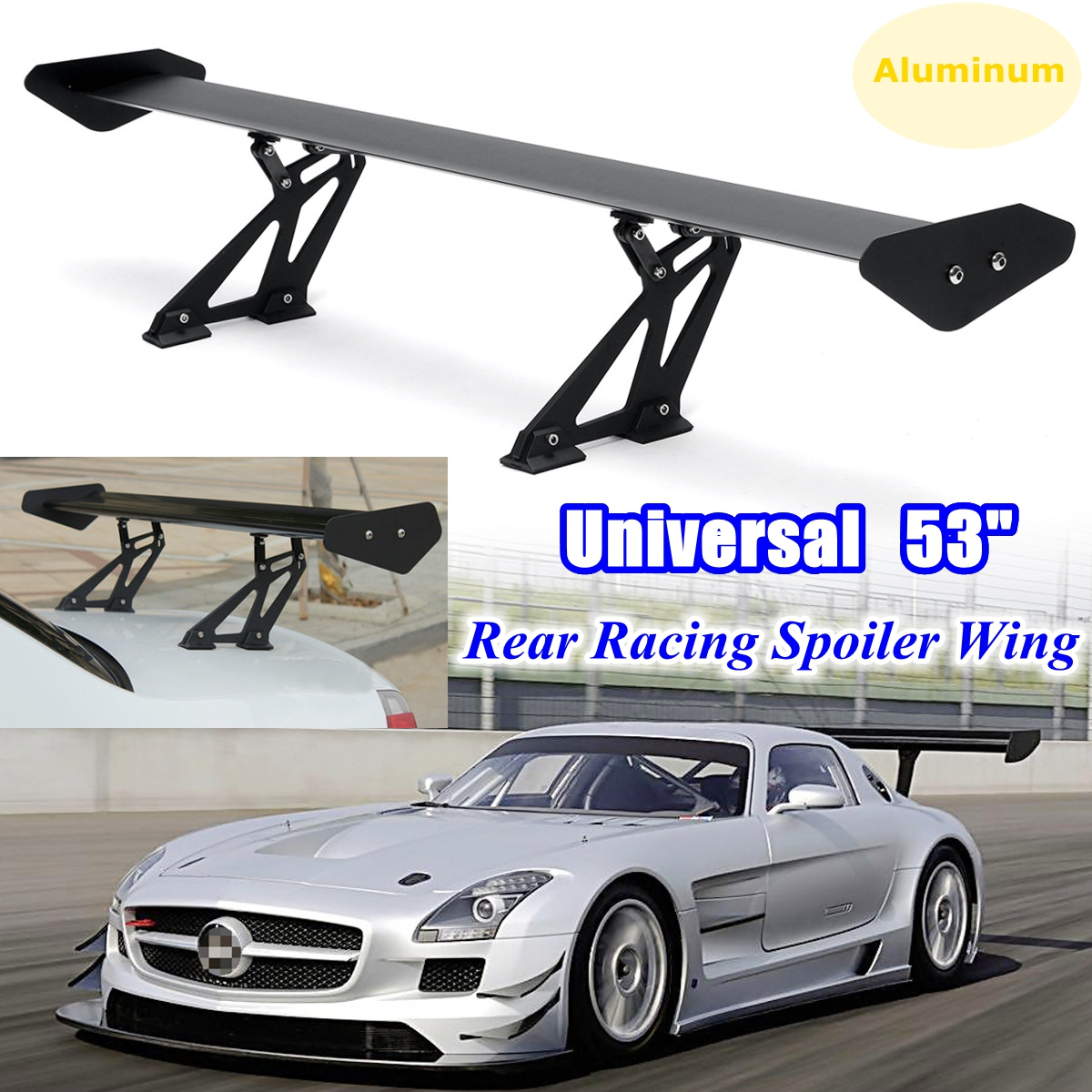 135cm Universal Racing Sports Car Rear Tail Trunk Racing Wing Spoiler Aluminum Black Adjustable GT Double Row