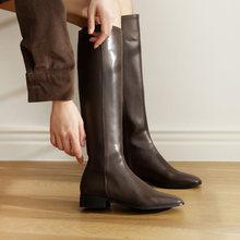 Женские модные высокие сапоги; Черная кожаная обувь; Сезон осень