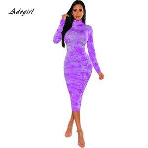 Image 2 - Осень 2020, женское длинное платье с рюшами и принтом, пикантное неоновое облегающее платье труба с круглым вырезом и длинным рукавом, Клубная одежда