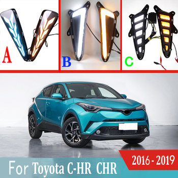 2pcs For Toyota C-HR CHR 2016 - 2019 LED Daytime Running Lights DRL with Fog lamp hole Yellow Turn Signal lamp Blue Night light