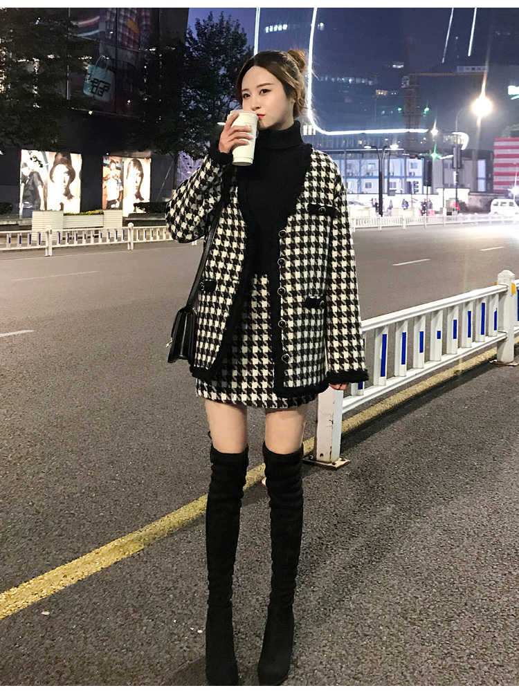 H516016806d3a4b8292d1d8c100951333I - Houndstooth Vintage Two Piece Sets Outfits Women Autumn Cardigan Tops And Mini Skirt Suits Elegant Ladies Fashion 2 Piece Sets