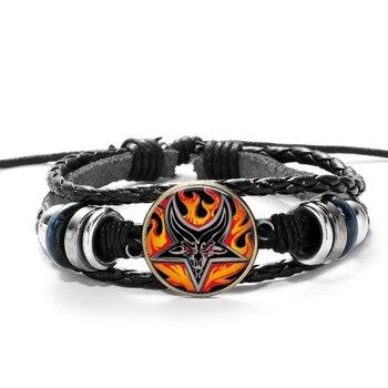 SONGDA Hot Sale Red Goat Head Braided Bracelet Men Retro Bronze Pentagram Pattern Leather Bracelets Bangle Satanism Gothic Style 3