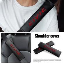 Carbon Fiber Car Seat Belt Pads Civic Emblem Seat Shoulder Strap Pad For Honda City Civic Mugen Accord Odyssey JAZZ CRV Fit RR