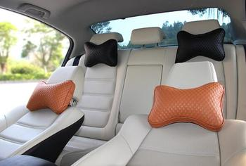 2 Pieces New Arrival Car Neck Pillows Both Side Pu Leather Single Headrest Fit For Most Cars Filled Fiber Universal Car Pillow image
