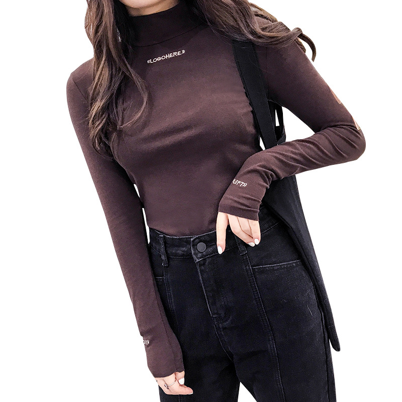 New Style Embroidery Tops Women Semi-high-collar Long Sleeve Clothing Feminine Black Knitted  Tops For Girl Pullover  Clothes