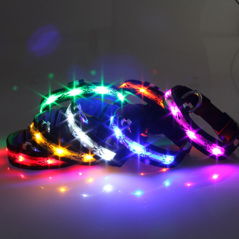 Black Side Cartoon Pluto LED Shining Pet Collar Dog Harness 7 Color USB Rechargeable Hair Day