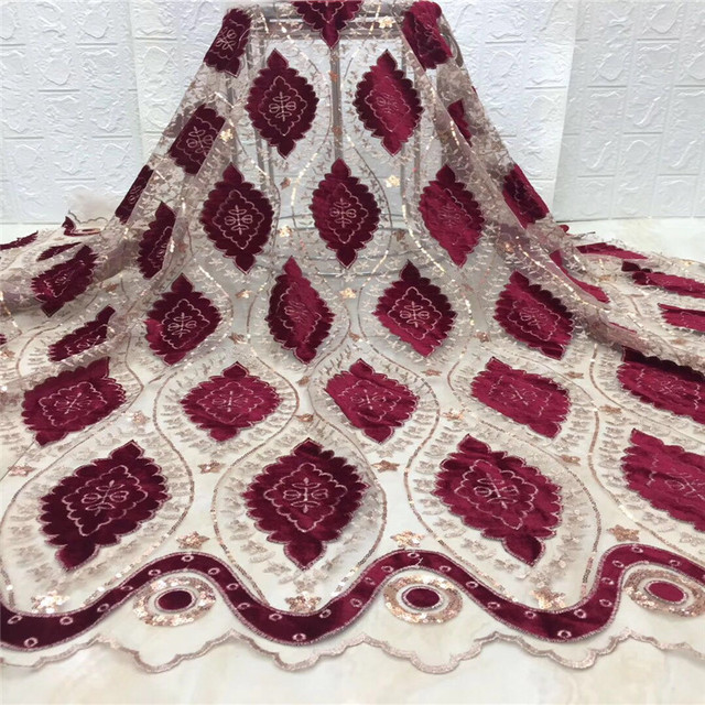 Hot sale French Lace fabric high quality Nigerian  lace  fabric red color African  mesh dress xc1-766