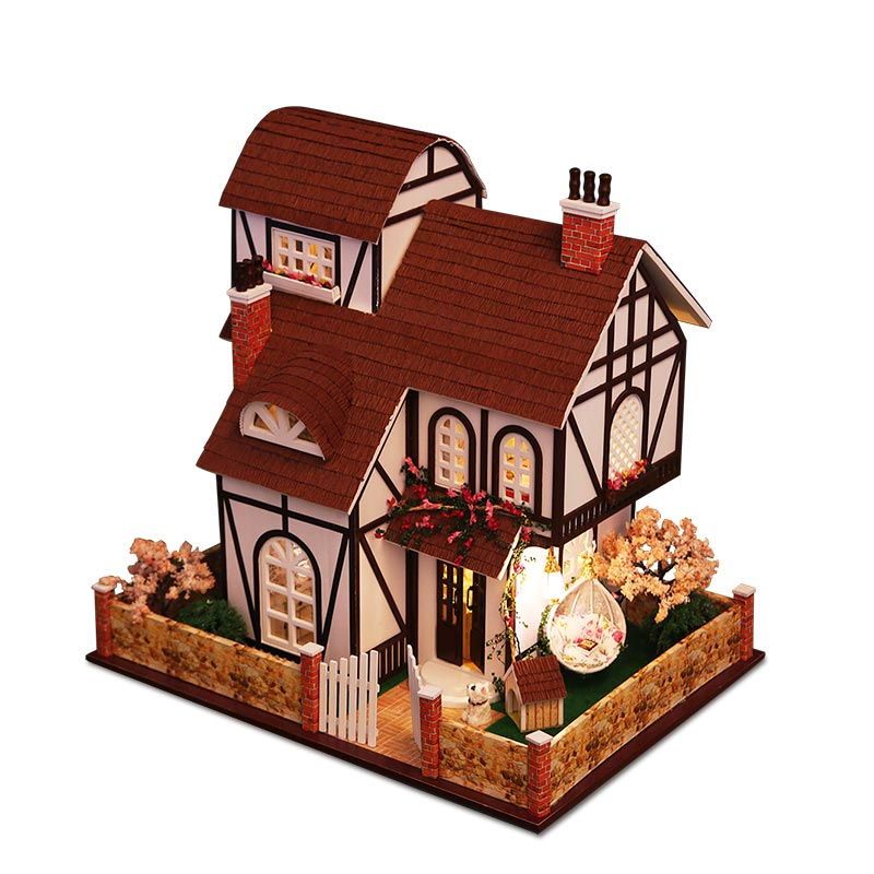 Doll house model toys role play elegant house  furnishing articles Flower town room children toys kids not include glue