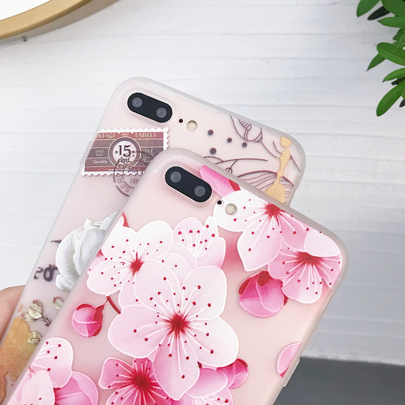 Luxury 3D Flowers Phone Case For iphone X 6 6S Cases Soft Cover For iphone 5 5s SE 6 s XR XS 11 Pro Max 7 8 Plus Case Coque