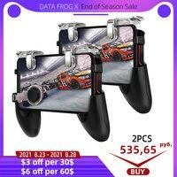 DATA FROG-Mando de consola con botón de disparo para juegos de móvil, controlador para videojuegos con disparador compatible con teléfono iPhone y Android, PUBG