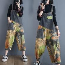 Capri Pants Jeans Patchwork-Pockets Leg-Overalls Color Plus-Size Women's Thick Doodling