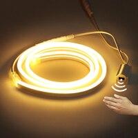 Interruptor de barrido manual, tira LED de neón de 12V, Sensor de movimiento PIR, 2835 SMD, 120LED/M, tubo de cuerda Flexible, luz de neón impermeable, luz de fondo artesanal
