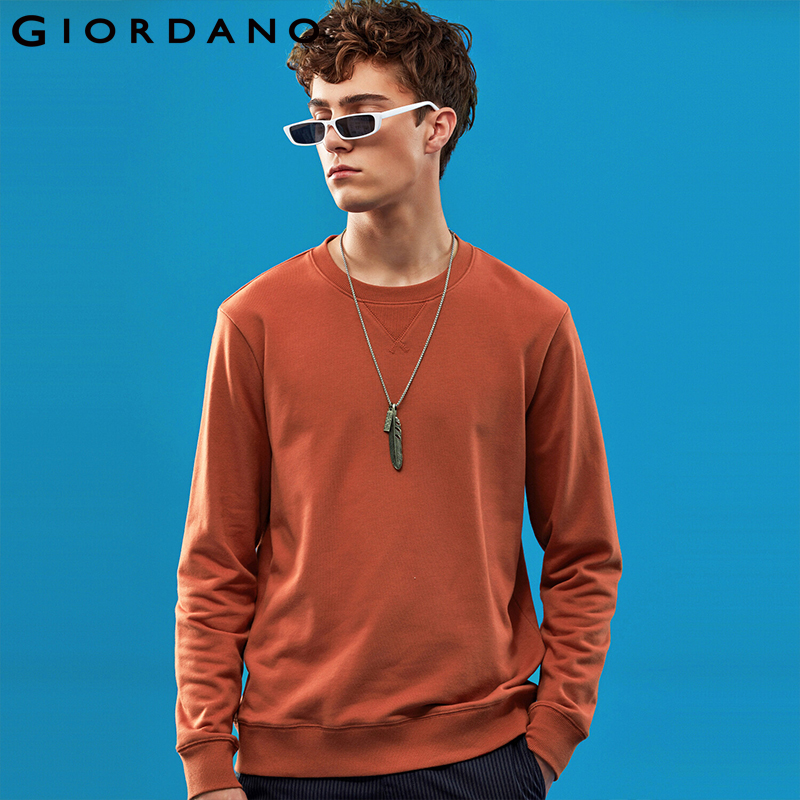 Giordano Men Sweatshirt Solid Pullover Sweatshirt Men Long Sleeve Fashion Terry Mens Clothes Sudadera Hombre Moleton Masculino