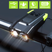 Bicycle Lights USB Charging Smart Headlight 2 LED Handlebar Flashlight With Horn Front Light On For MTB Road Bike Torch 4000mAh|Bicycle Light|Sports & Entertainment -