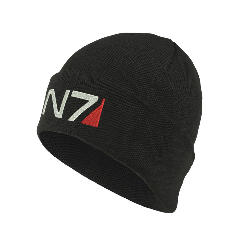 Mass Effect N7 Logo Beanie Hat Black Red Gray Unisex One Size Embroidered Knit Hat For Men Women