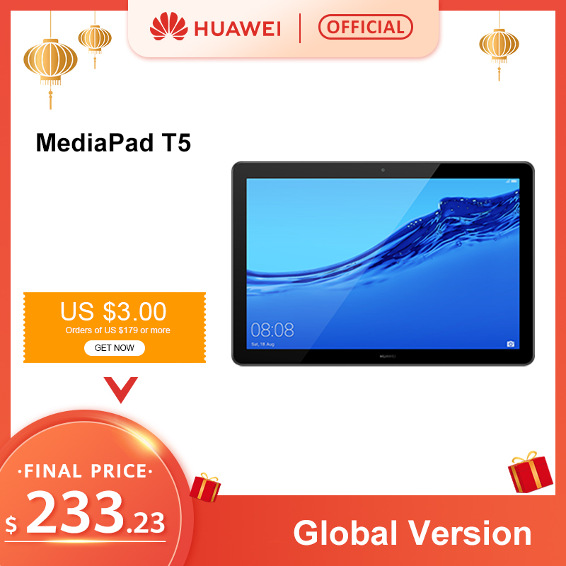 Original HUAWEI MediaPad T5 4GB 64GB Tablet PC 10.1 Inch Octa Core Dual Speaker 5100 MAh Support MicroSD Card Android 8.0
