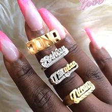 Aurolaco nova personalidade anel de hip hop feminino nome personalizado anel de ouro moda punk carta anel presente