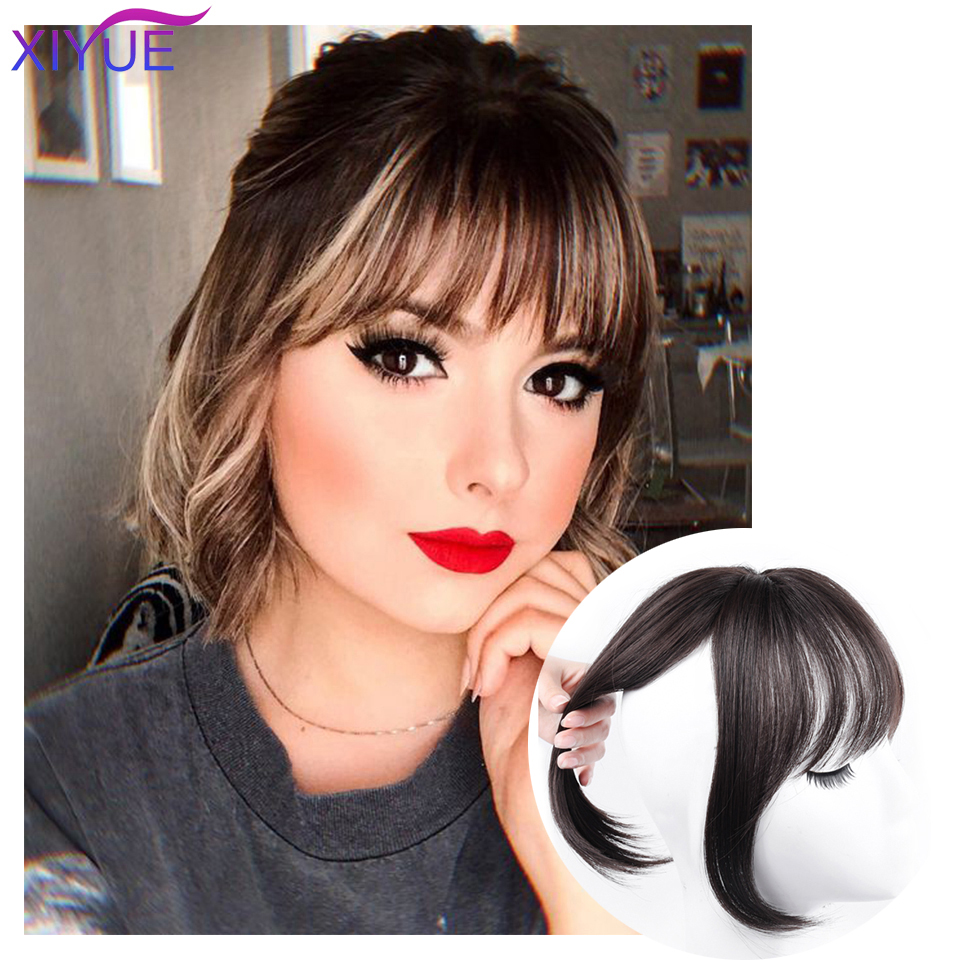 Black/Light Brown Clip In Hair Bangs Hairpiece Accessories Synthetic Fake Bangs Clip In Hair Extensions Clip In Hair Pieces