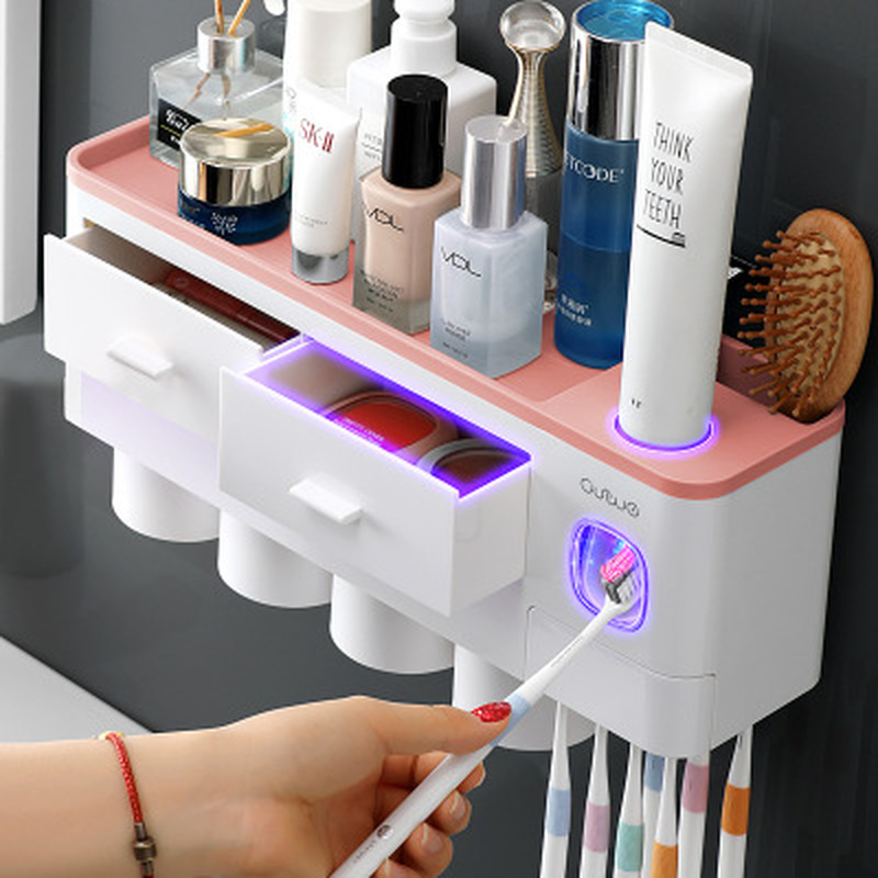 5 Toothbrush Holder Wall Mount Rack 013C Auto Automatic Toothpaste Dispenser