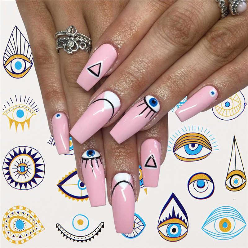 1 Pcs Eye Serie Water Transfer Slider Voor Nail Art Decoraties Charmant Retro Element Sticker Nail Manicure Tattoos Folie Decals
