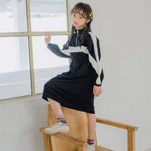 Big Girls Dress Autumn New 2019 Teens Children Casual Dress Color block Long Sleeve Toddler Sweatshirt Vestidos Leisure casual striped color block dress