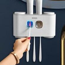 Titular escova de dentes magnética copo invertido automático dispensador de dentes acessórios do banheiro conjunto escova de dentes prateleira montagem na parede