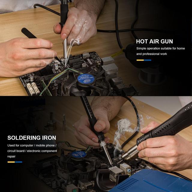 800W Soldering Station 2 in 1 Electric Hot Air Gun Led Display Electric Soldering Iron Work Station for Welding Repair Tools Kit 6