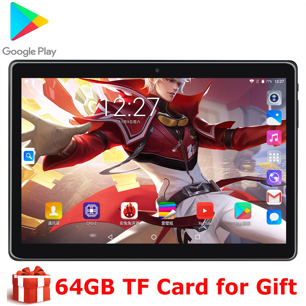 10 Inch Android 9.0 OS Tablet Quad Core 3G Dual SIM Phone Calling Tablets PC 1280*800 FHD IPS 32GB ROM GPS WIFI Free Gifts